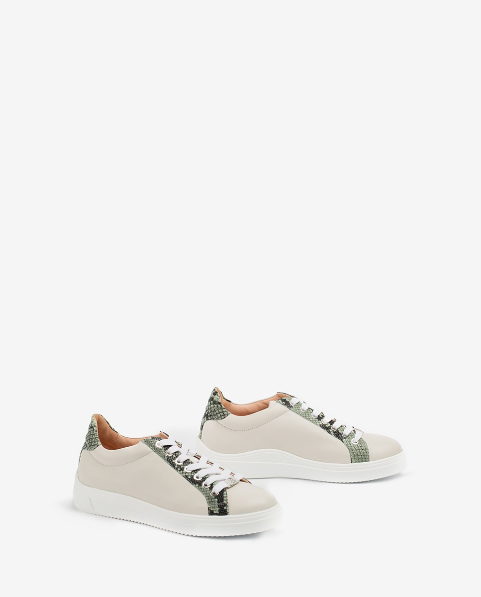 UNISA Leather sneakers snake contrast FRANCI_20_NF_VIP ivory/mint 2