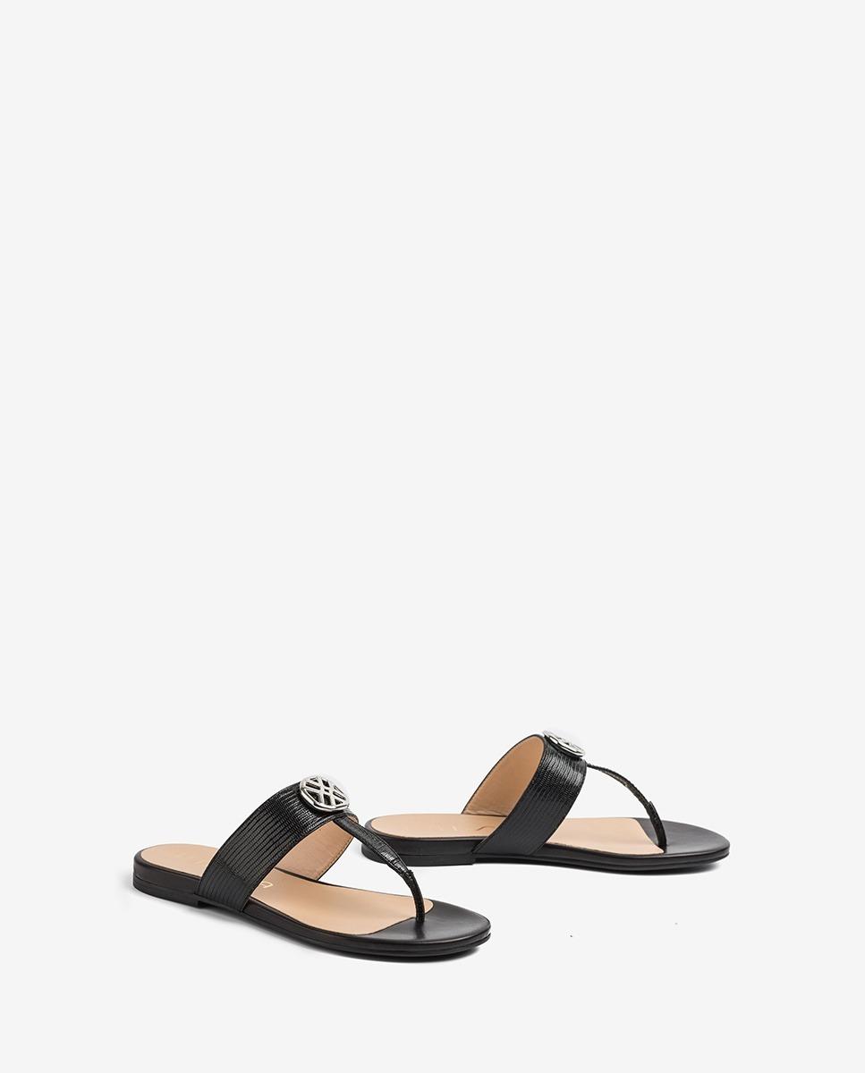 UNISA Flat monogram thong sandals CUCHI_LI_NA black 2