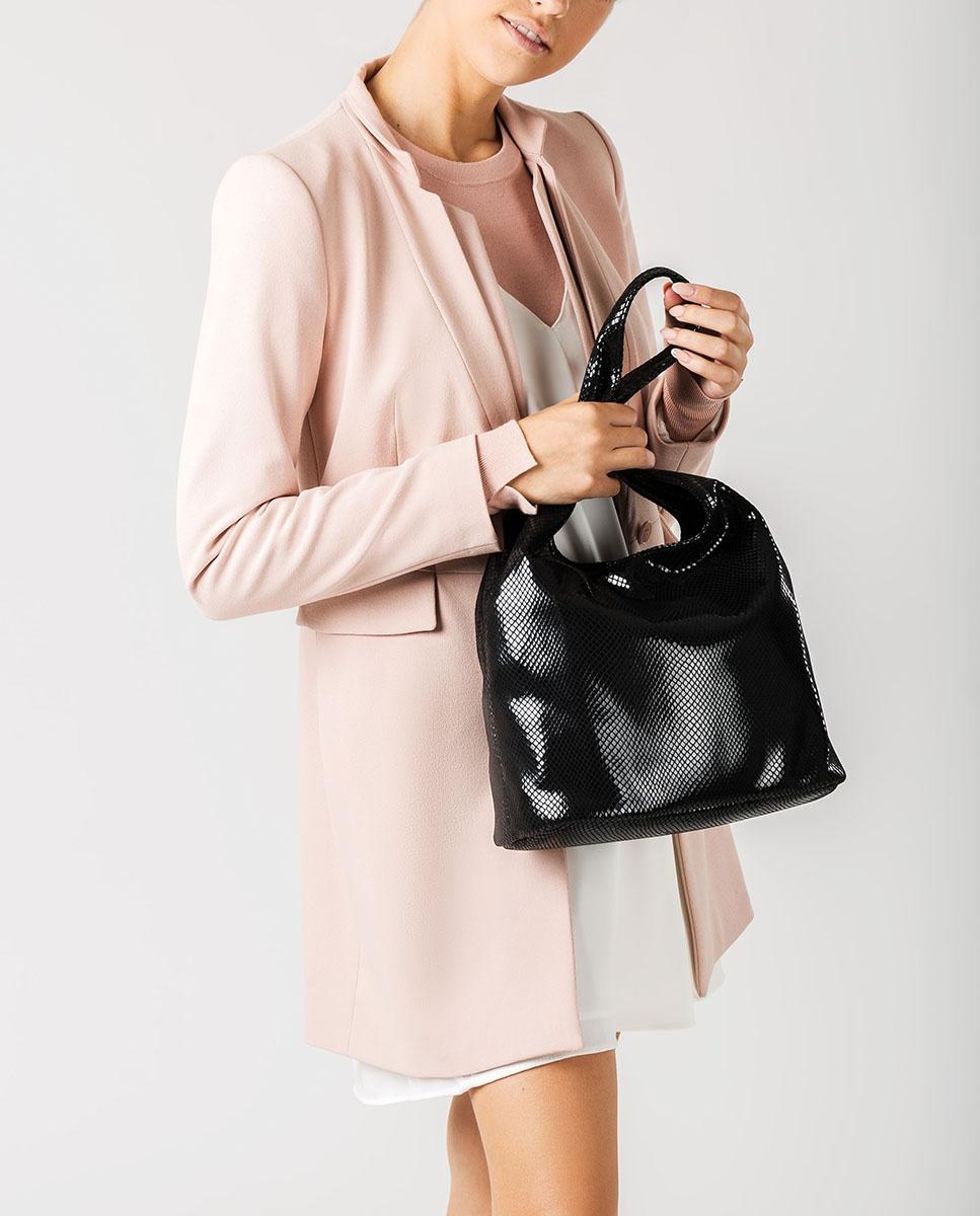 UNISA Snake effect large handbag ZPIRO_F20_STPY black 2