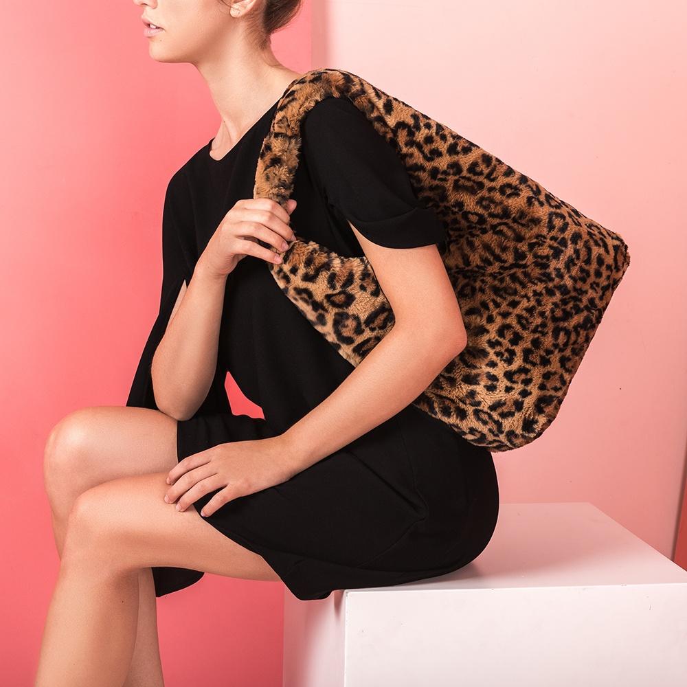 UNISA Leopard print fur tote bag ZPIRO_TD leo ginger 2
