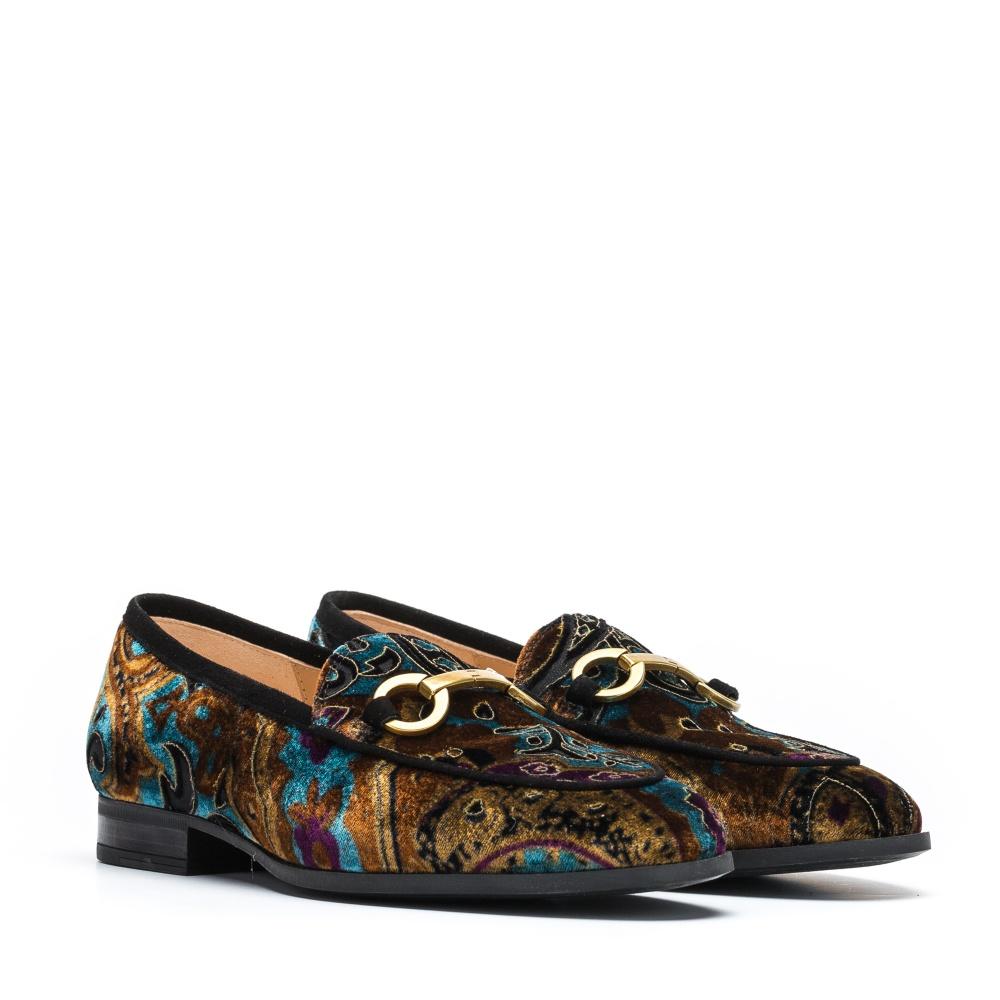 UNISA Velvet flower pattern loafers DAIMIEL_VRO multi blk 2