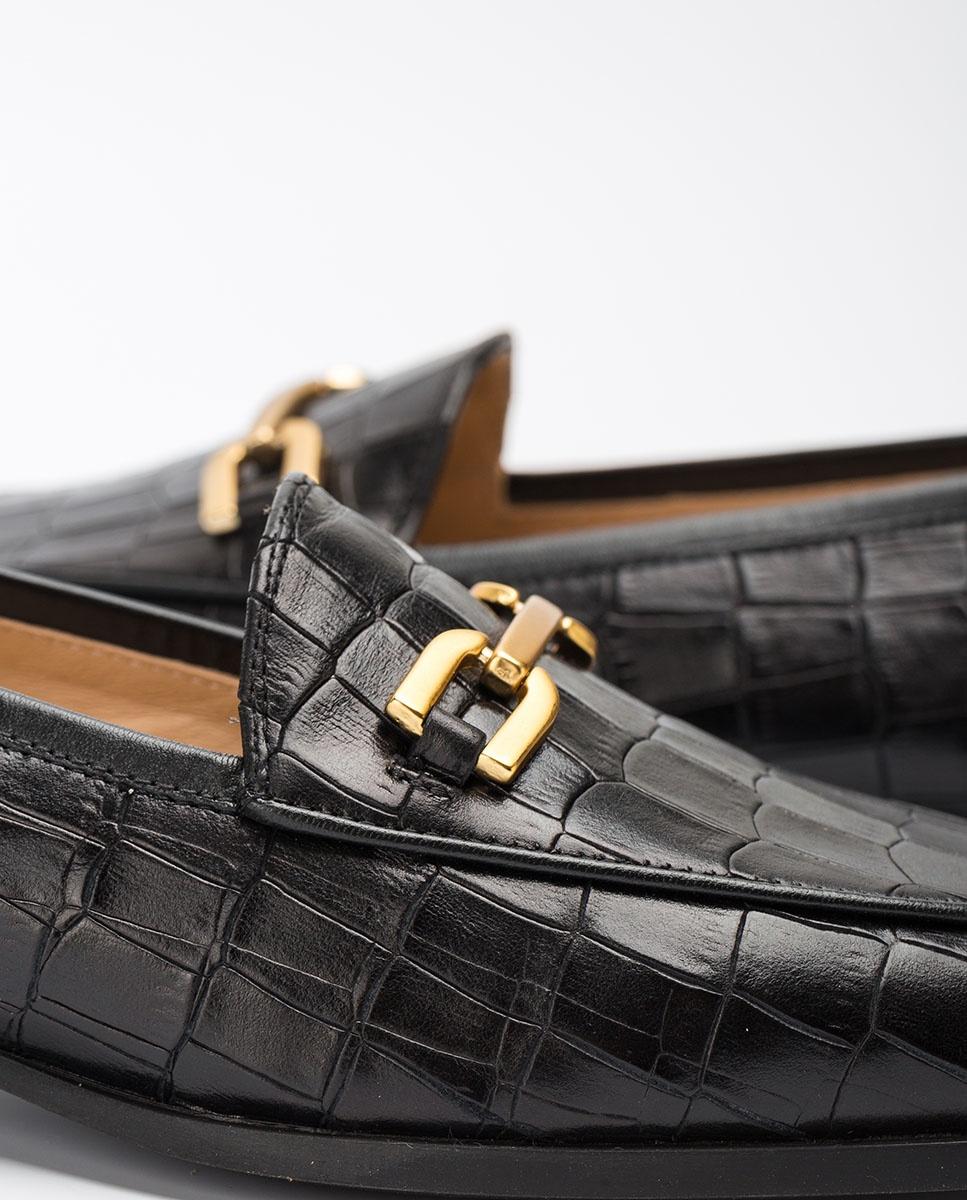 UNISA Croc effect leather loafers DAIMIEL_F20_MAL black 2