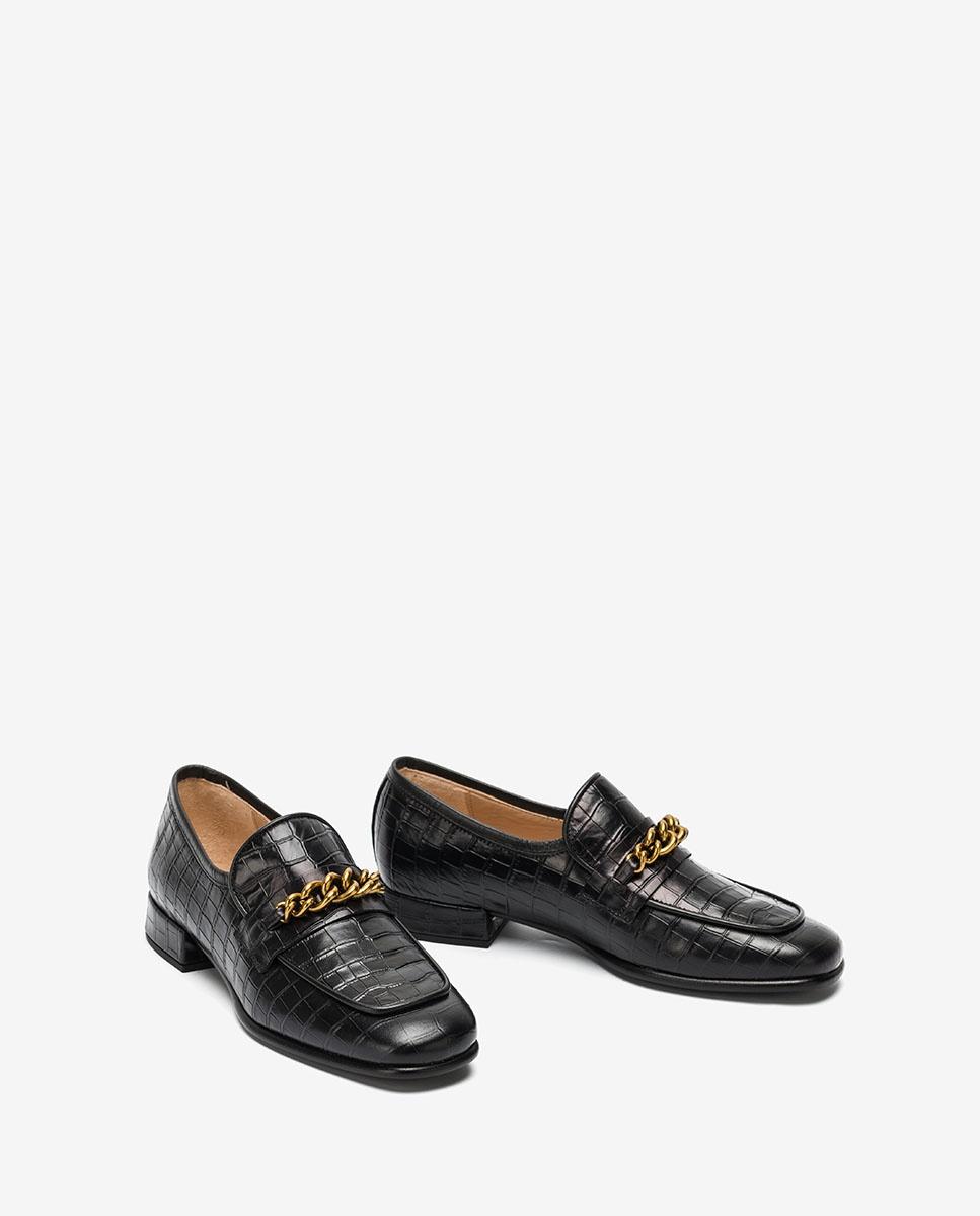 UNISA Square toe croc effect leather loafers ESAUL_LAU black 2