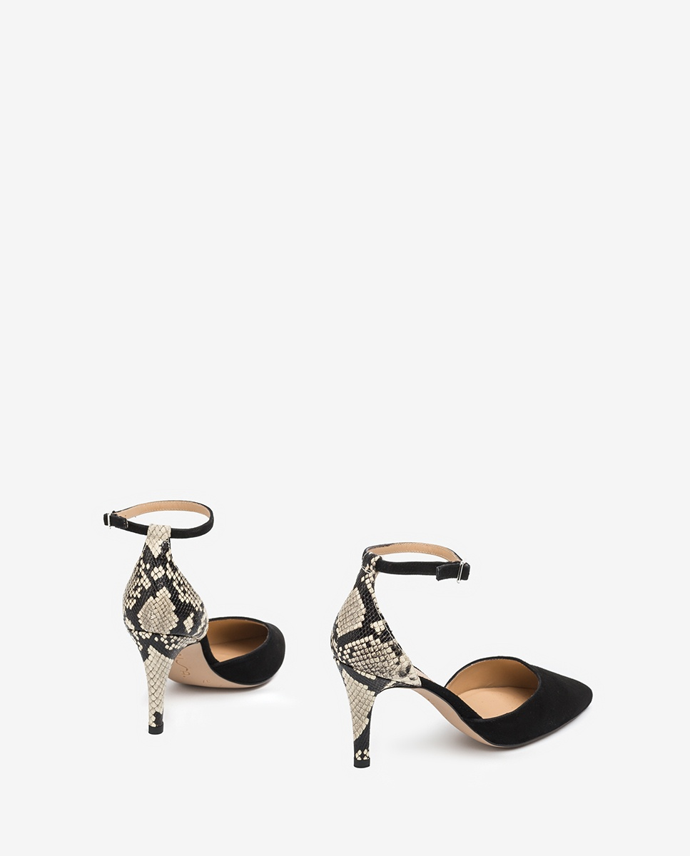 UNISA Combined snake effect and kid suede d´Orsay shoes TIRSU_KS_VIP blk/nacar 2