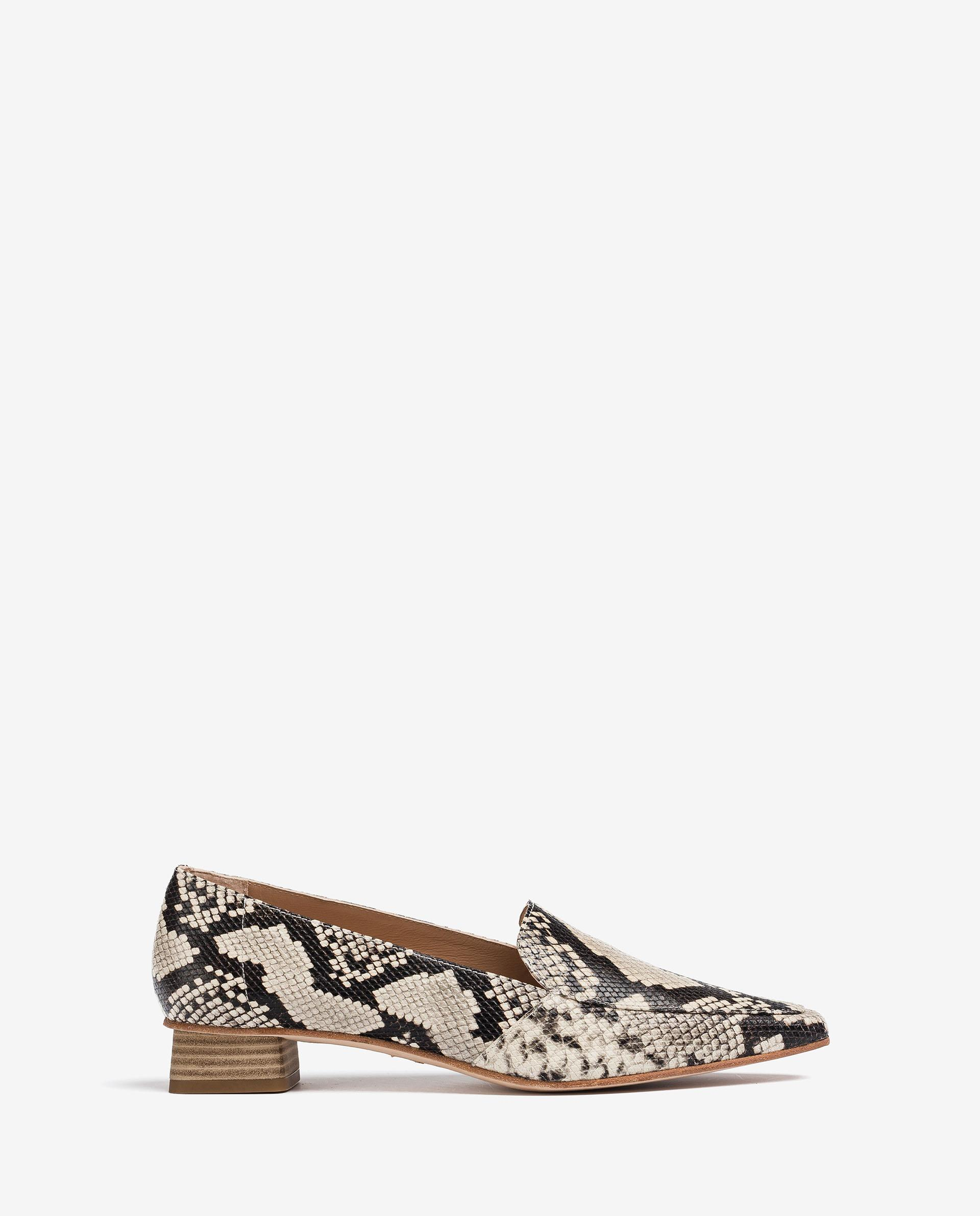UNISA Snake effect leather loafers with fabric lining GEGAL_VIP 2