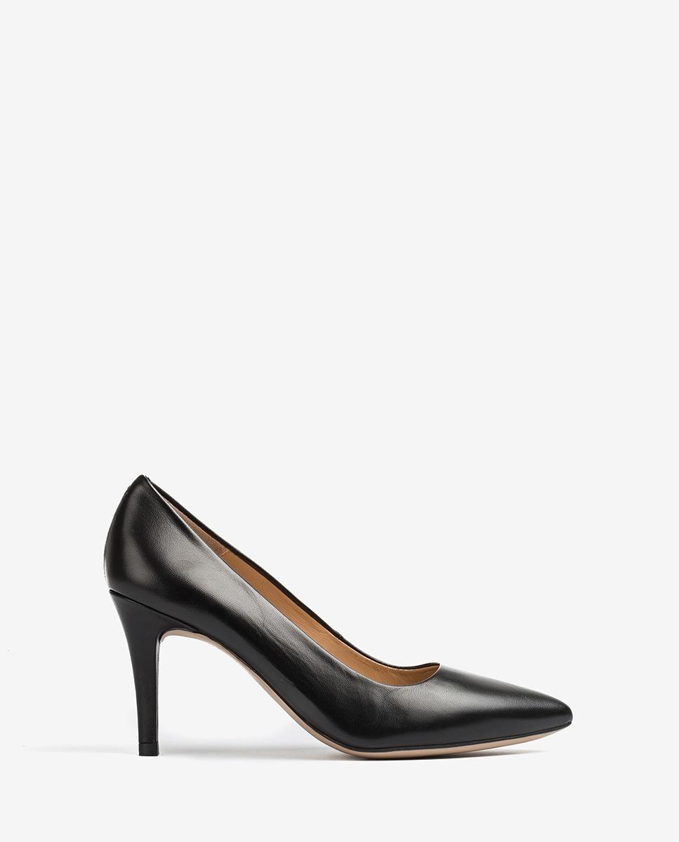 UNISA Black leather heel pumps V-shaped top line TOLA_20_NA black 2