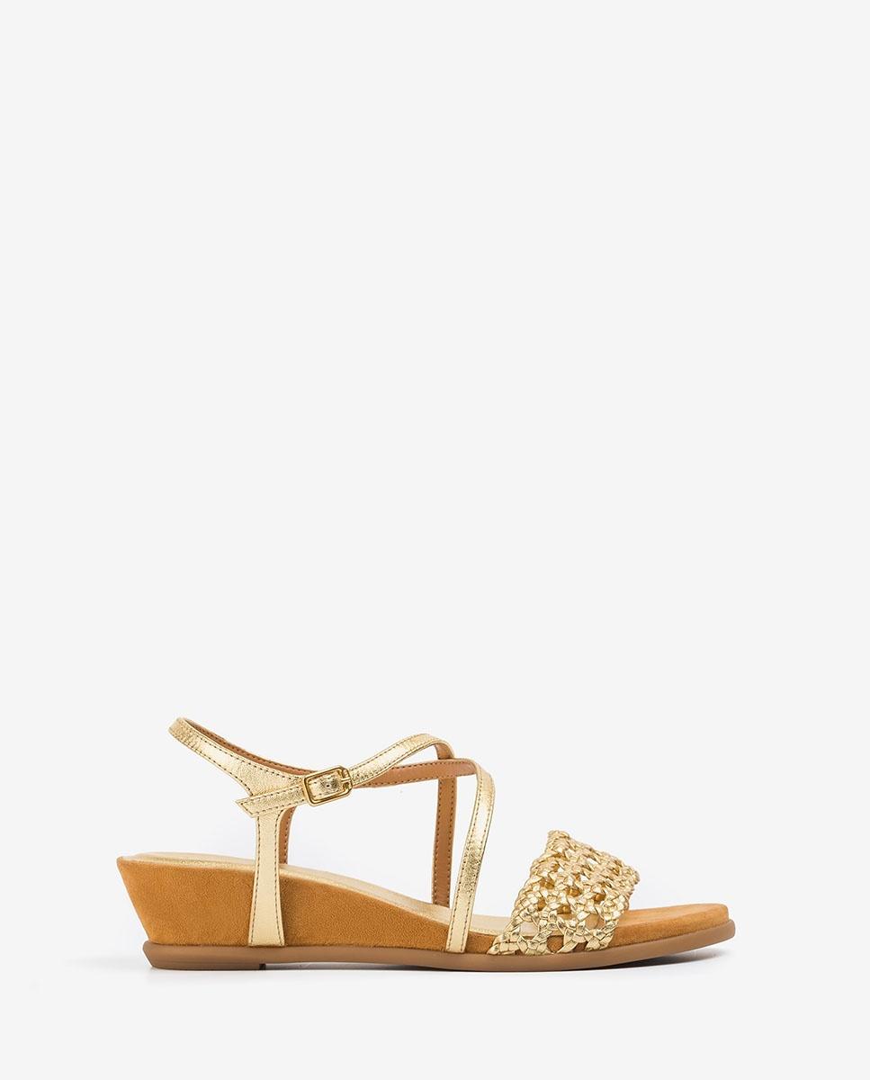 UNISA Metal effect macramé sandals BENSON_LMT gold 2