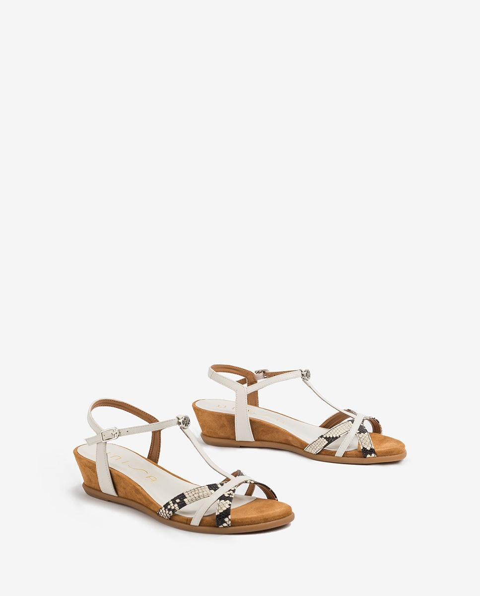 UNISA Wedge sandals contrast straps BINAR_VIP_NA nacar/ivor 2