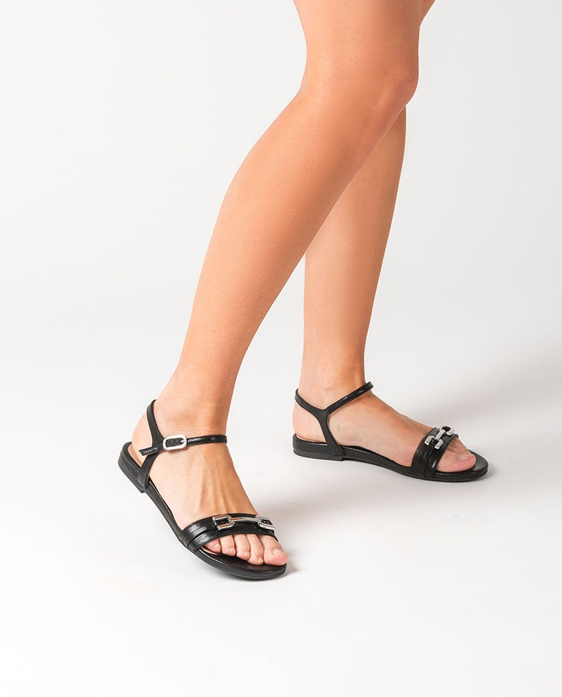 UNISA Shiny leather flat sandals CARITA_GCR black 2