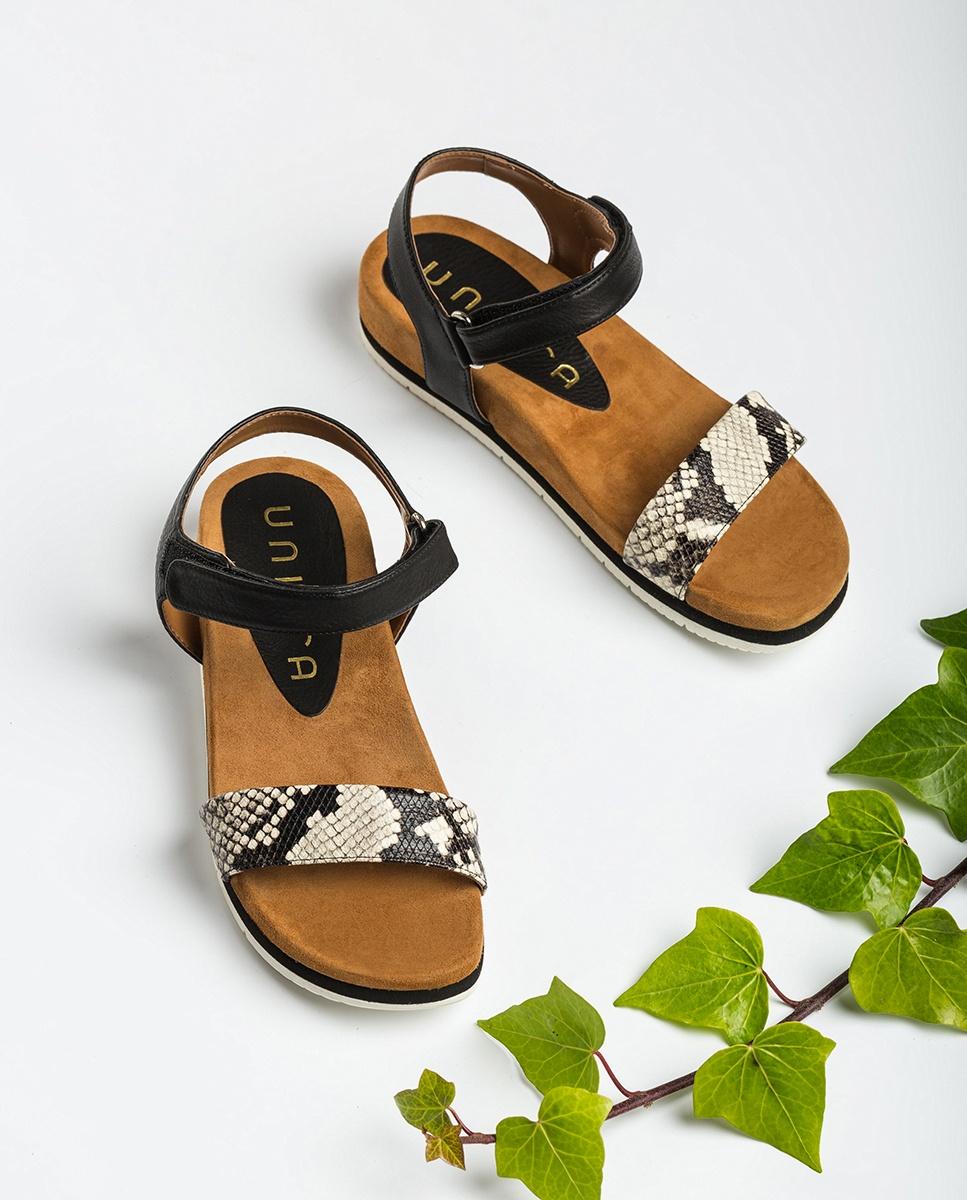 UNISA Snake flat sandals CERVERA_VIP_STY nacar/blk 2