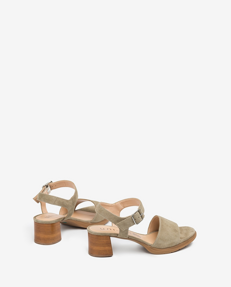 UNISA Green kid suede sandals wood effect heel GODOY_KS lauro 2
