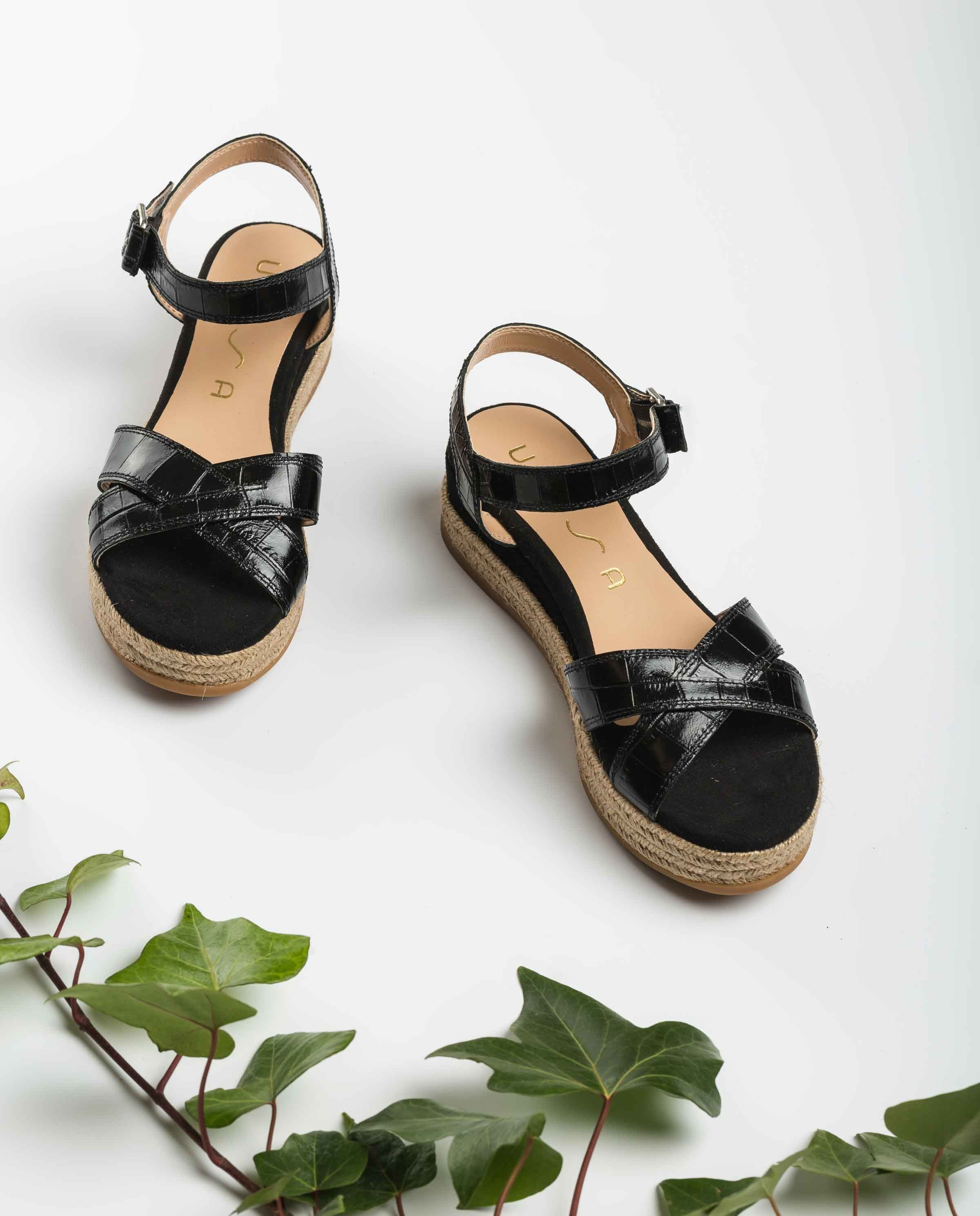 UNISA Croc effect leather wedge sandals GRANADA_CRW_KS black 2