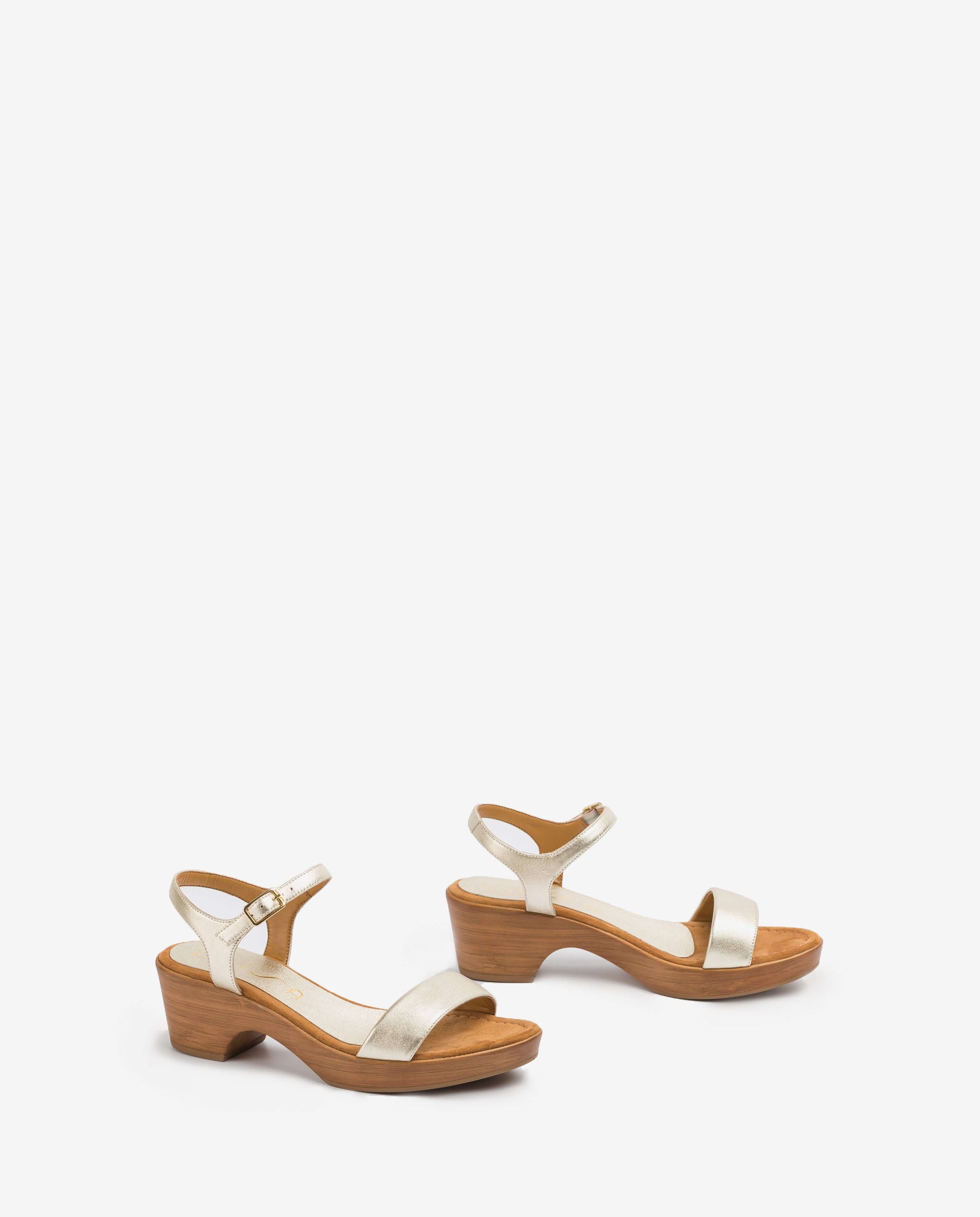 UNISA Metal effect block sandals IRITA_20_LMT platino 2