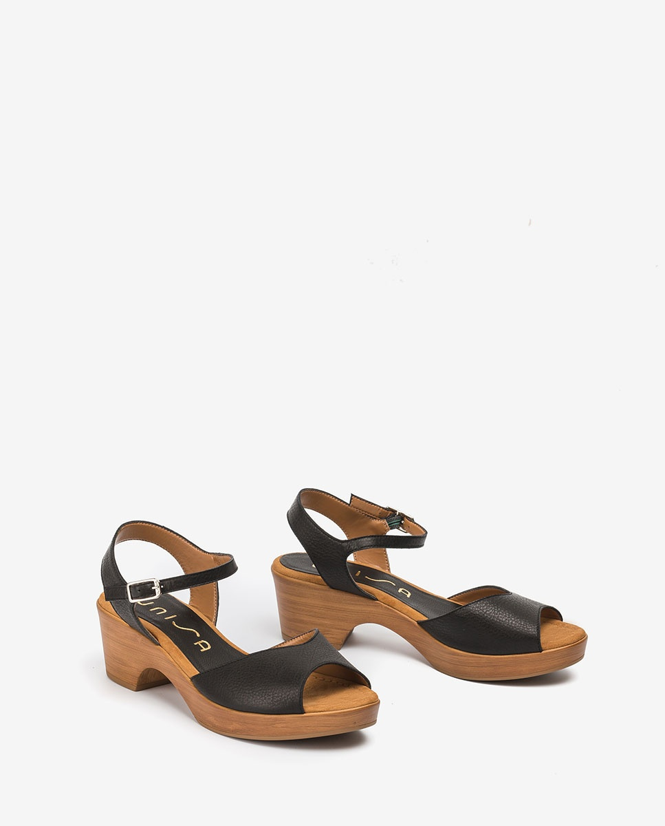 UNISA Leather block sandals ITACA_STY black 2