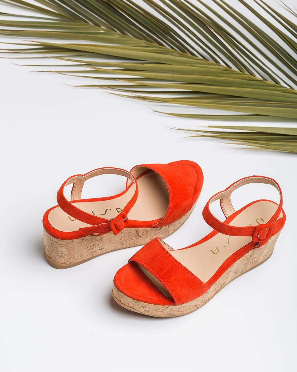 UNISA Kid suede cork wedge sandals KOME_KS corallo 2