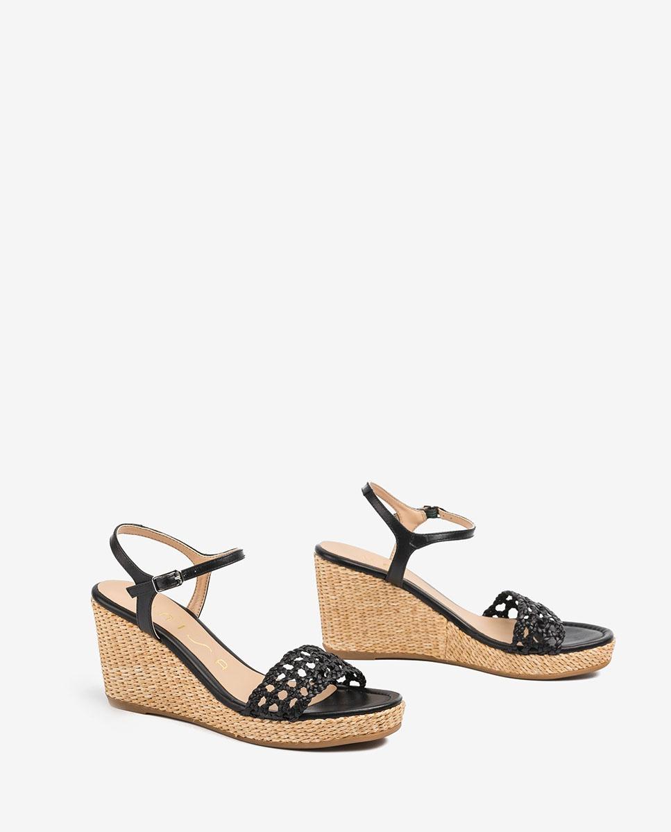 UNISA Leather macramé sandals LOBI_NA black 2