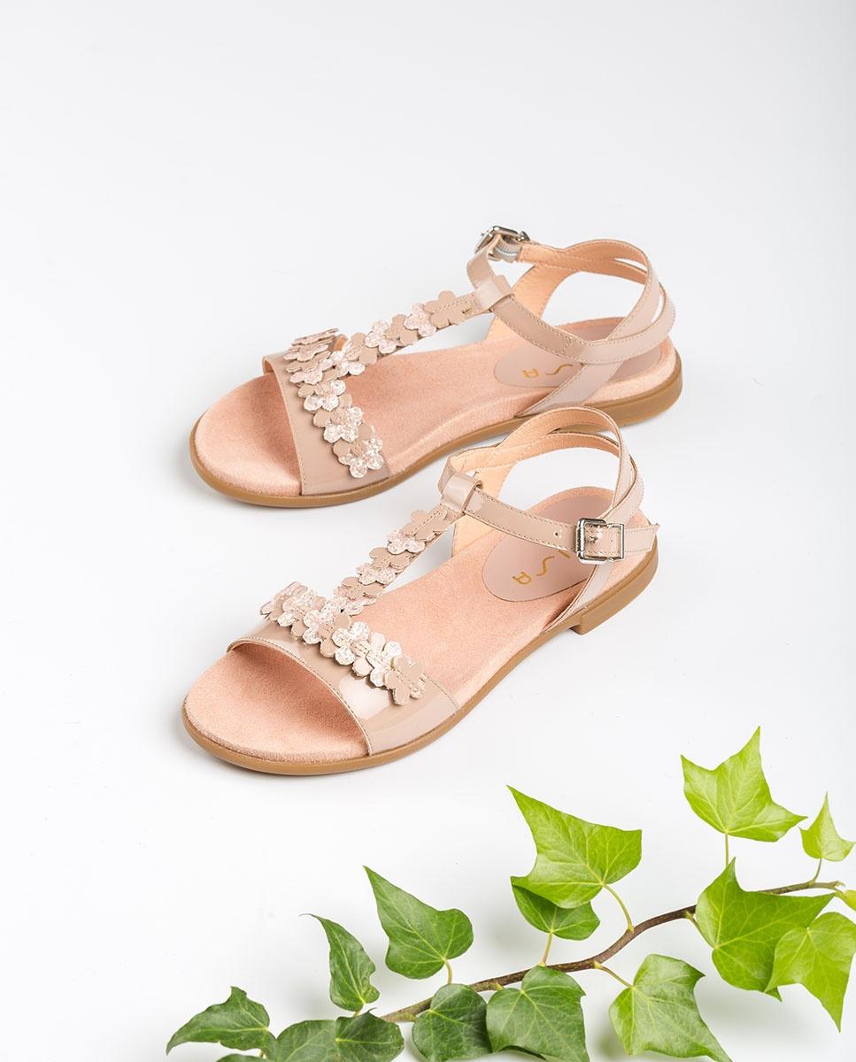 UNISA Little girl pink flowers sandals LOSAN_C_PA dusty 2