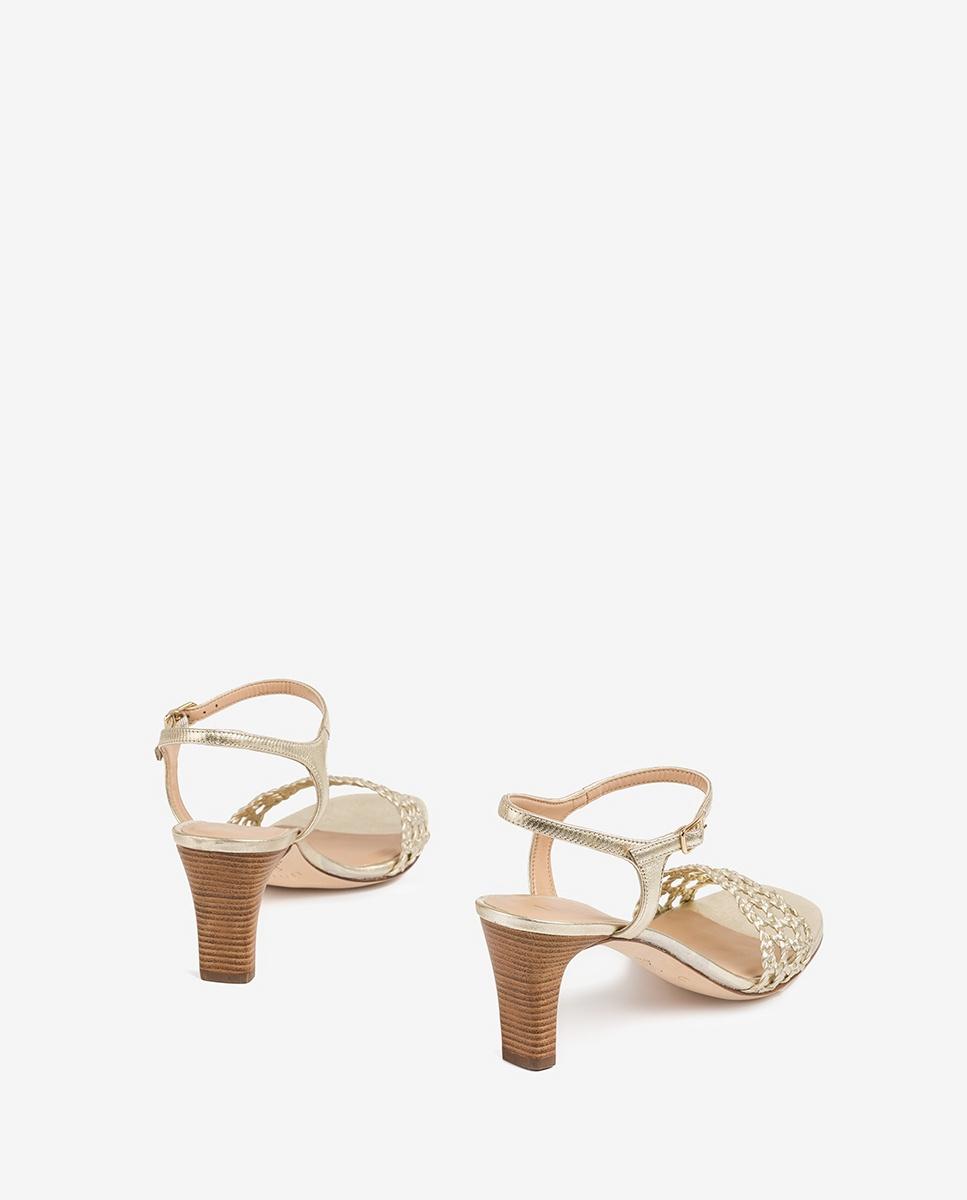 UNISA Macramé metal effect sandals MAXWEL_LMT platino 2