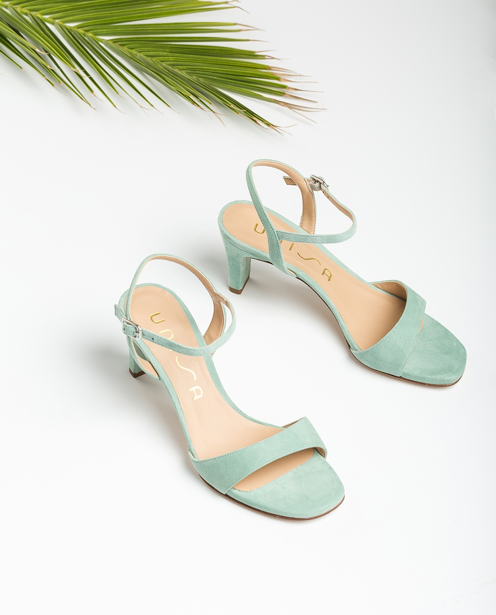 UNISA Kid suede sandals medium heel MECHI_KS mint 2