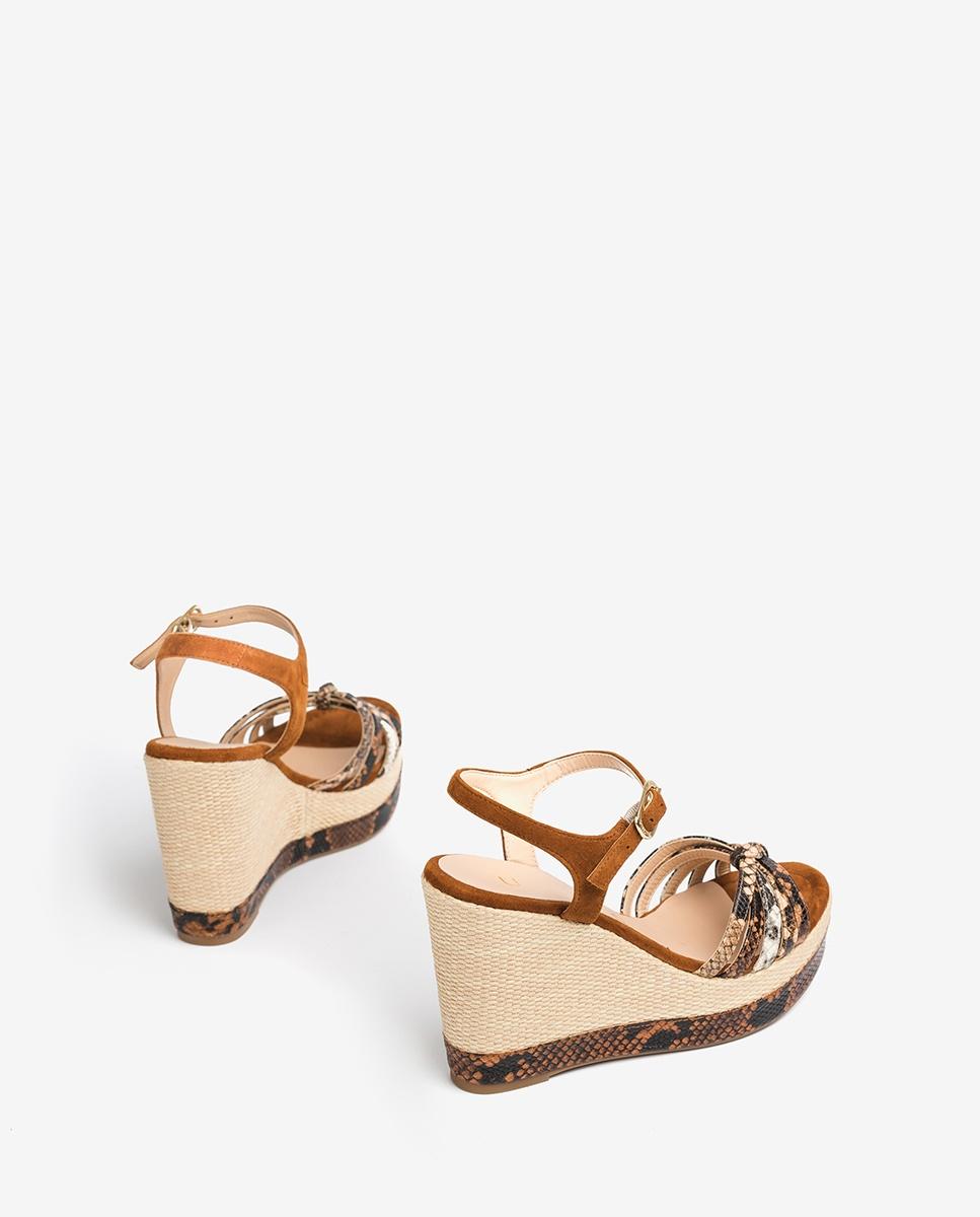 UNISA Snake wedge sandals knot MIRELLA_VIP_KS tek/sun/na 2