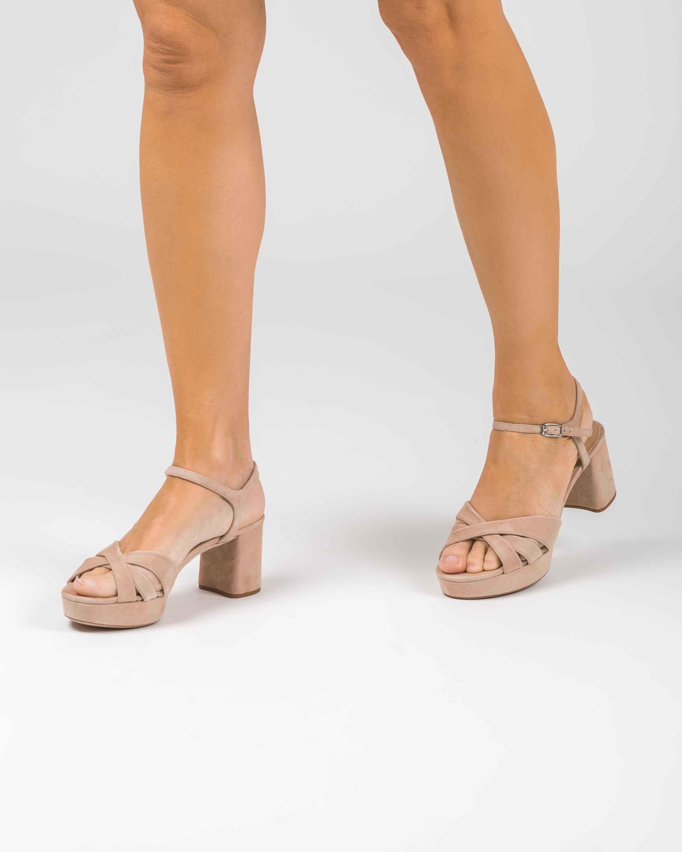 UNISA Platform crossed straps sandals NETA_KS nude 2