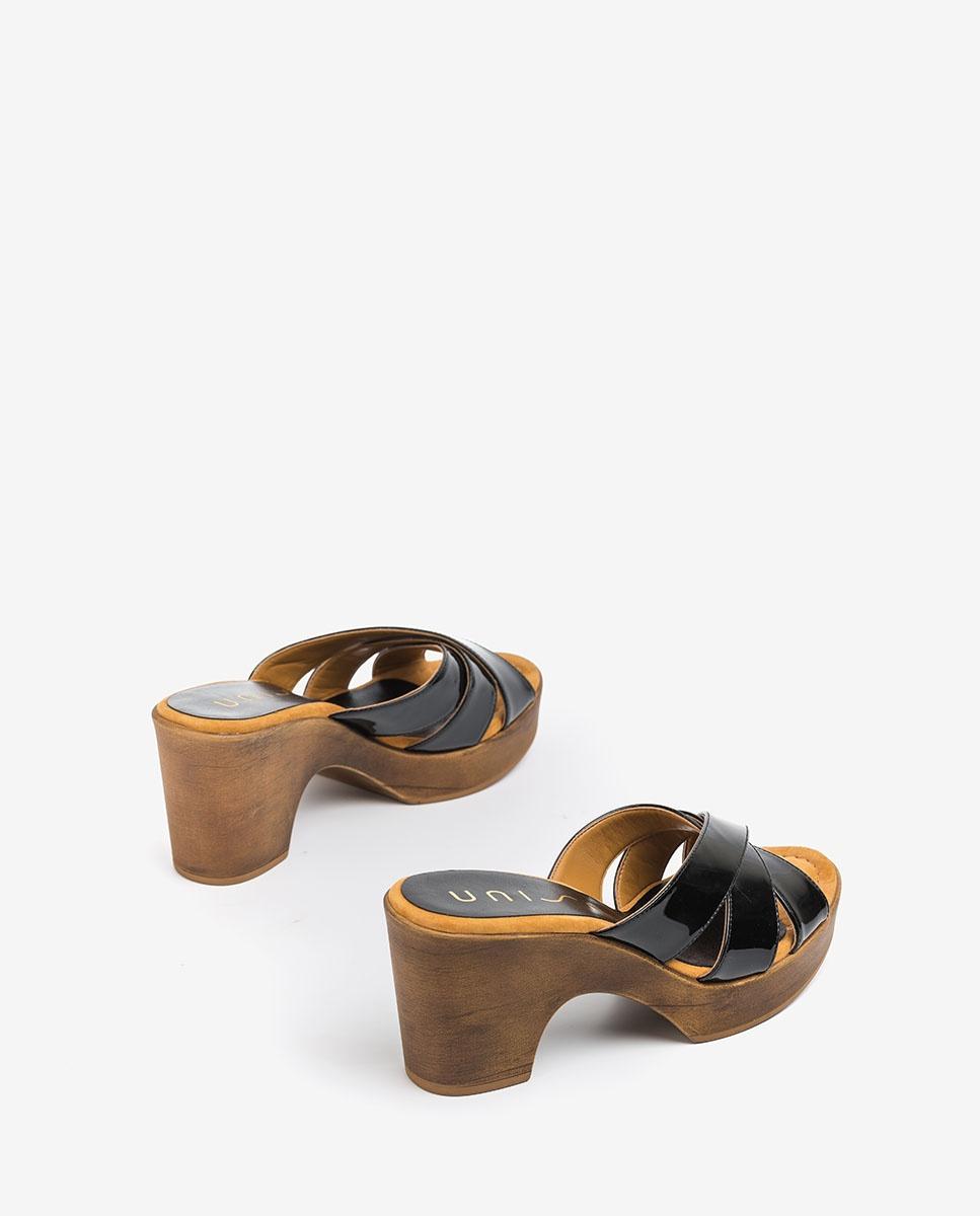 UNISA Patent leather block mules OCHOA_PA black 2