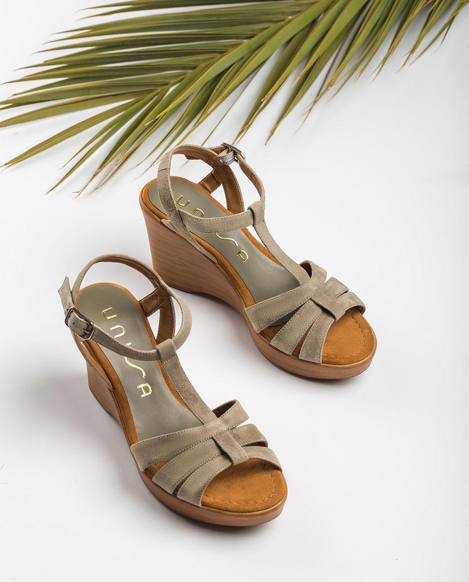 UNISA Kid suede T-strap sandals RAMOS_KS lauro 2