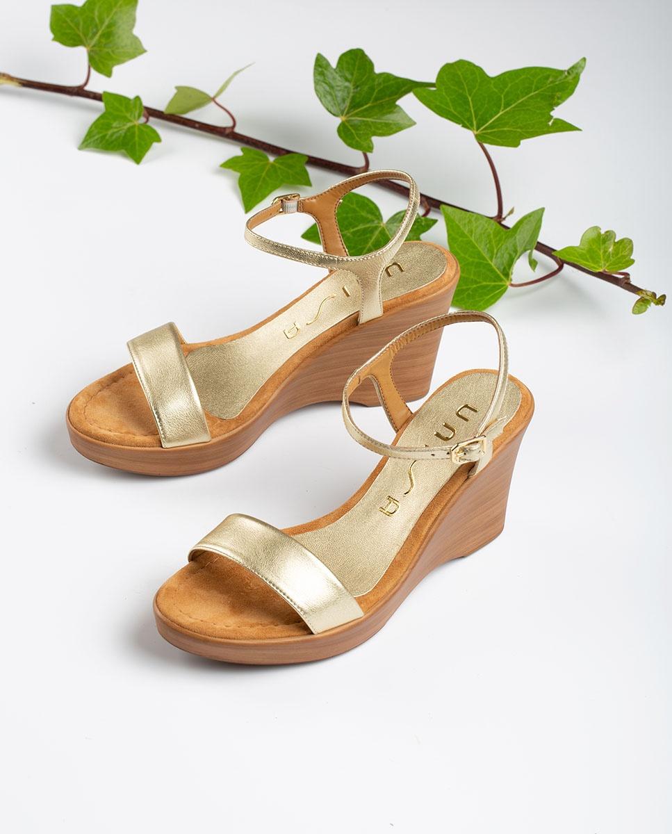 UNISA Metal effect block sandals RITA_20_LMT platino 2