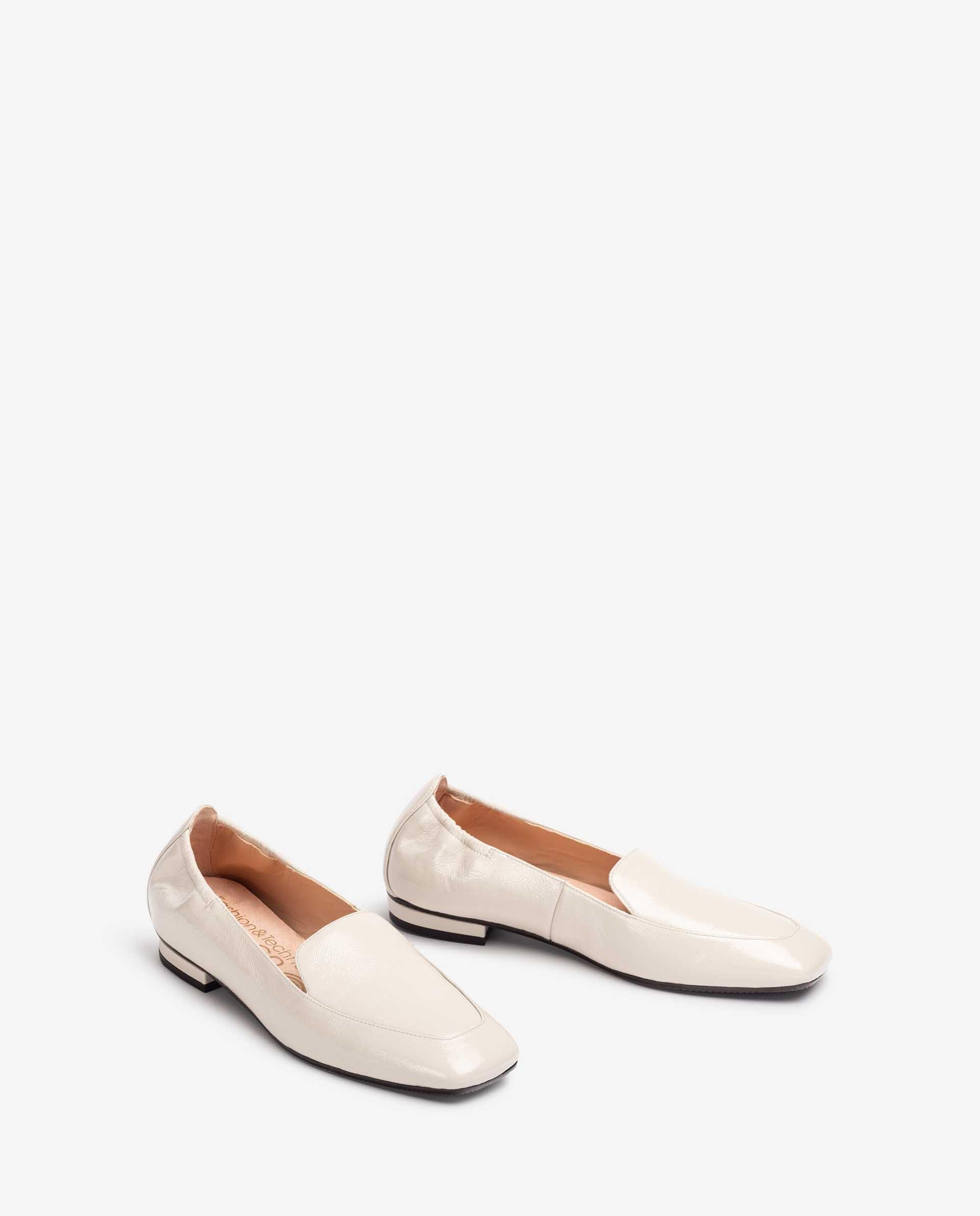 UNISA Low heel shiny effect leather loafers BOABO_PCR 2