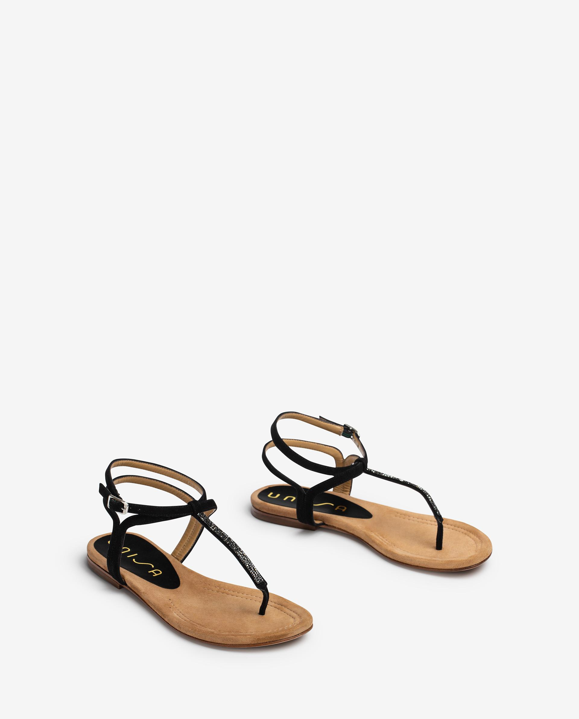 UNISA Flat Swarovski and kid suede thong sandals CHARLE_21_KS 2