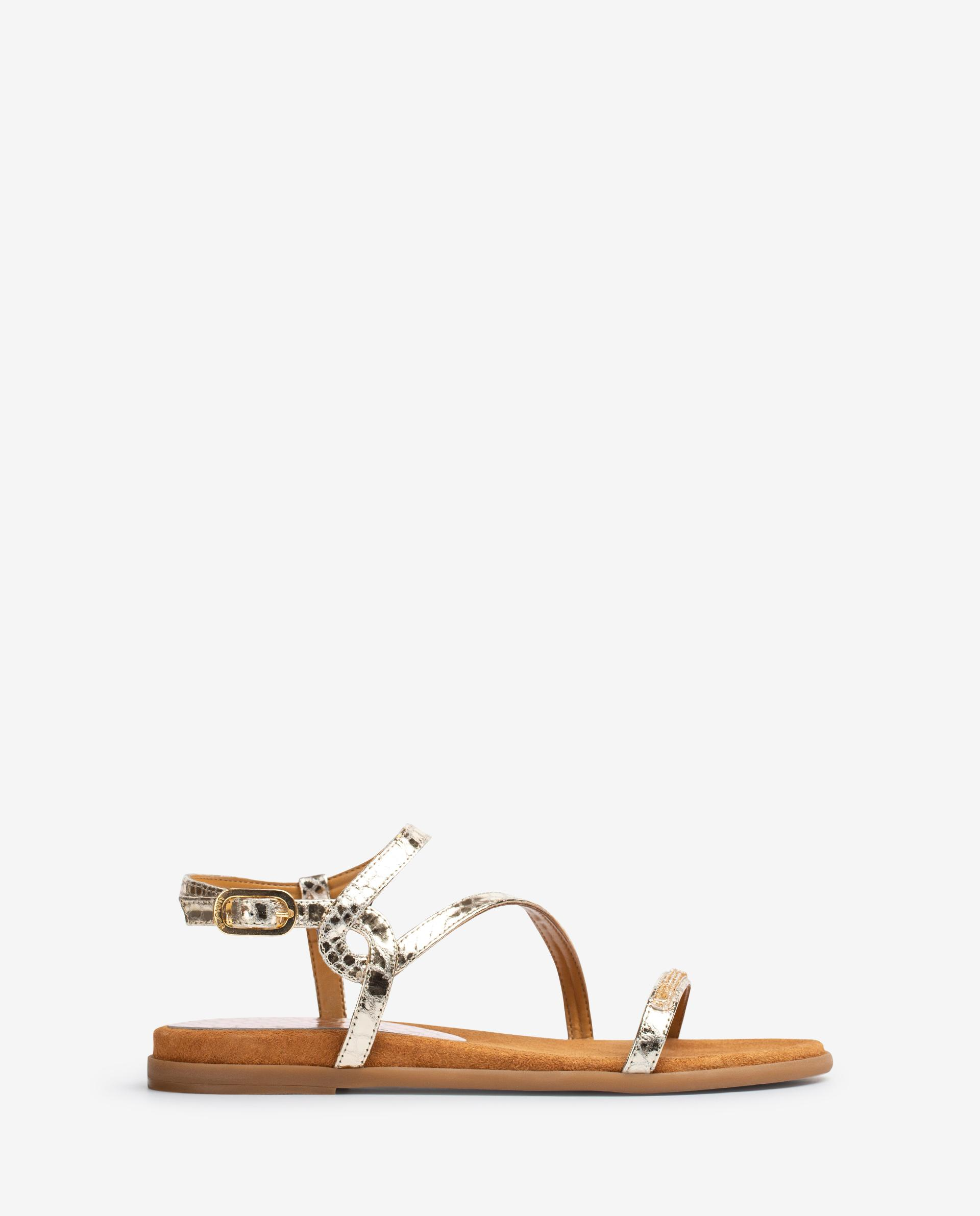 UNISA Metal effect snake print leather sandals with Swarovski CLARIS_21_SNM 2