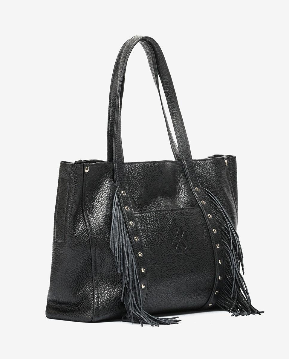 UNISA Bolso shopper de piel con flecos ZNOLITA_MM black