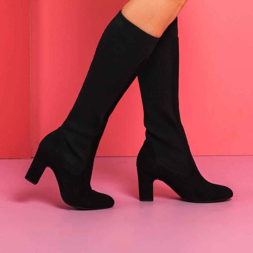 UNISA Bota con calcetín de piel ante URAWA_KS black