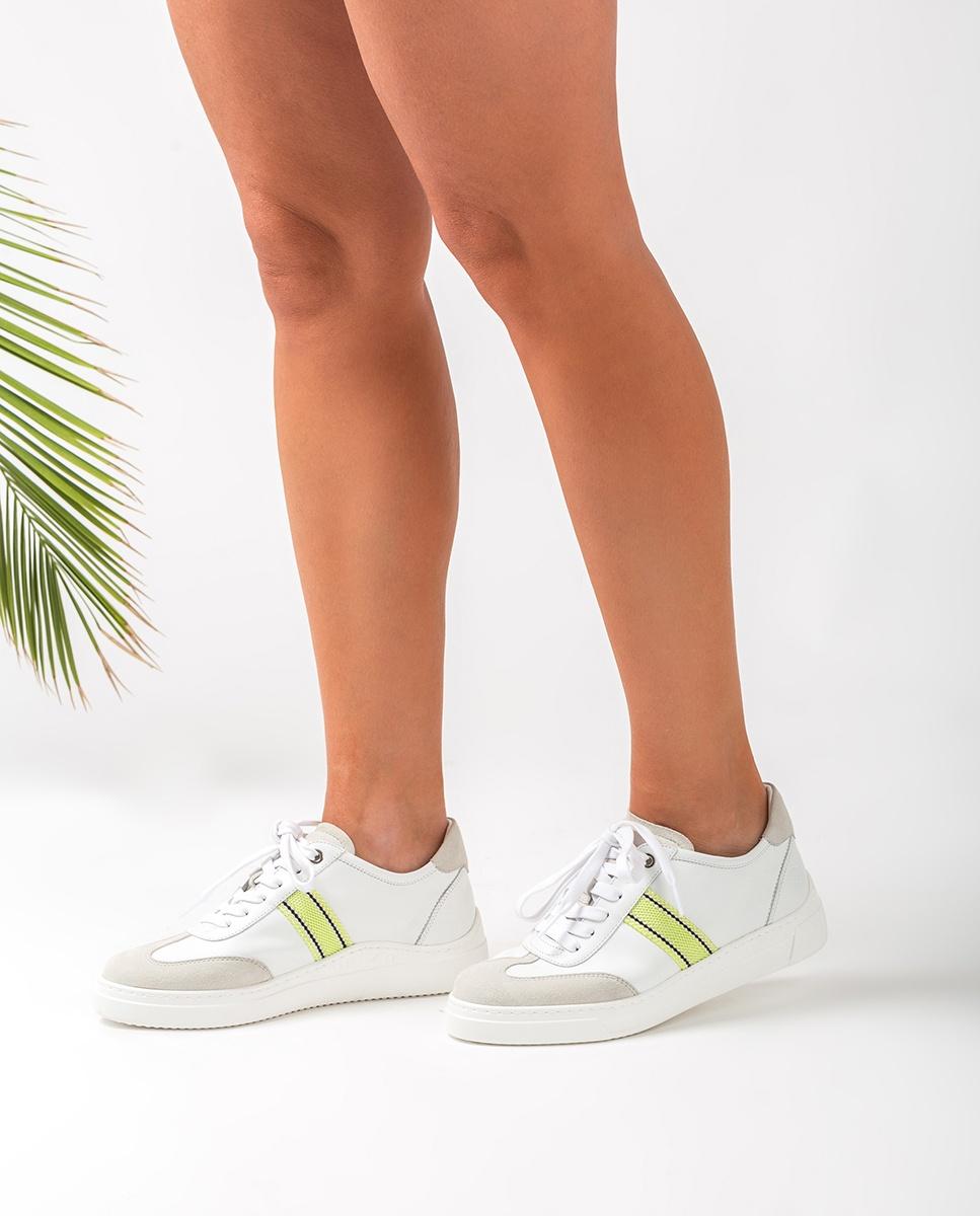 UNISA Deportivo piel tira ancha rayas tejido FELIU_NF white/lime