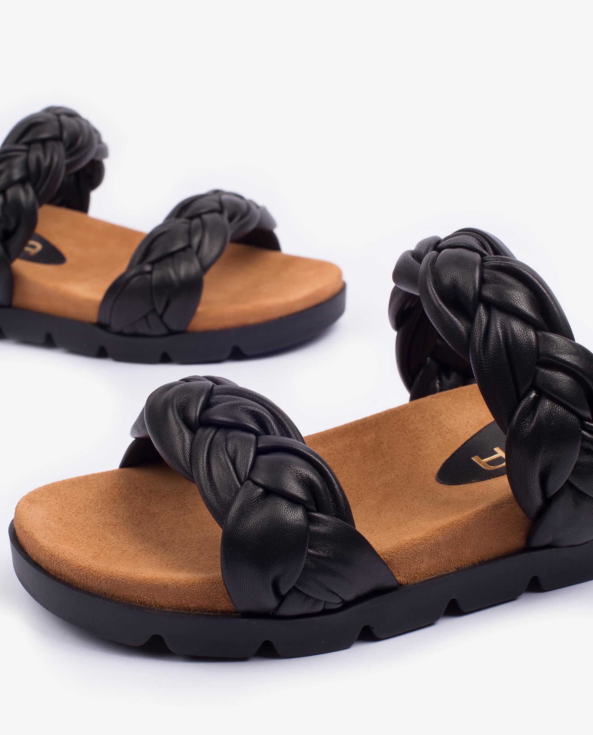 UNISA Sandalia plana de piel con tiras trenzadas CAIRO_NS