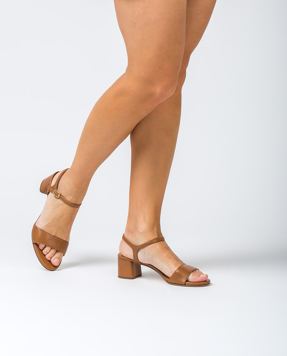 UNISA Sandalia de piel tacón medio GENTO_NA bisquit