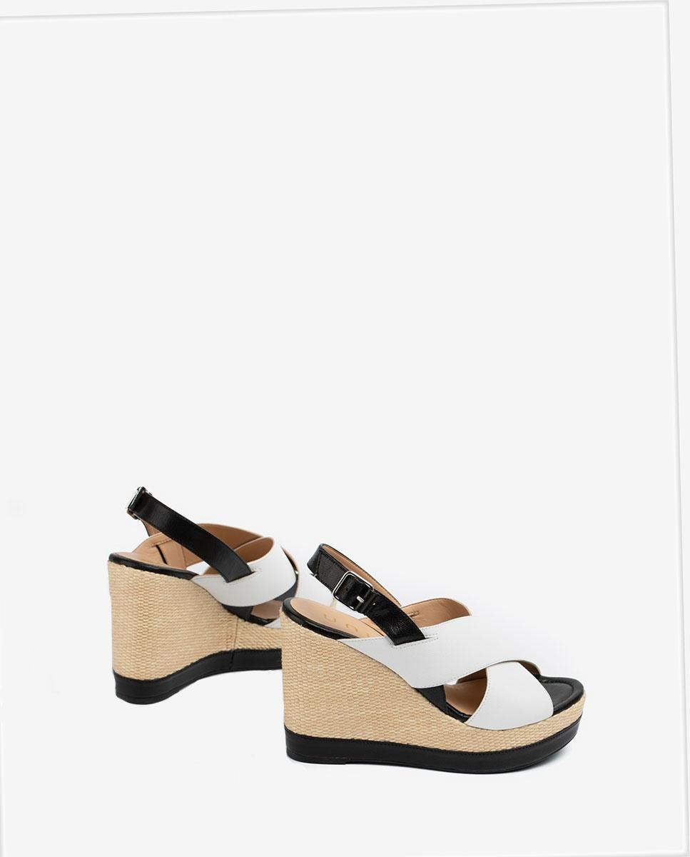 UNISA Sandalia cuña contraste piel brillo MIGUEL_GCR white/blk