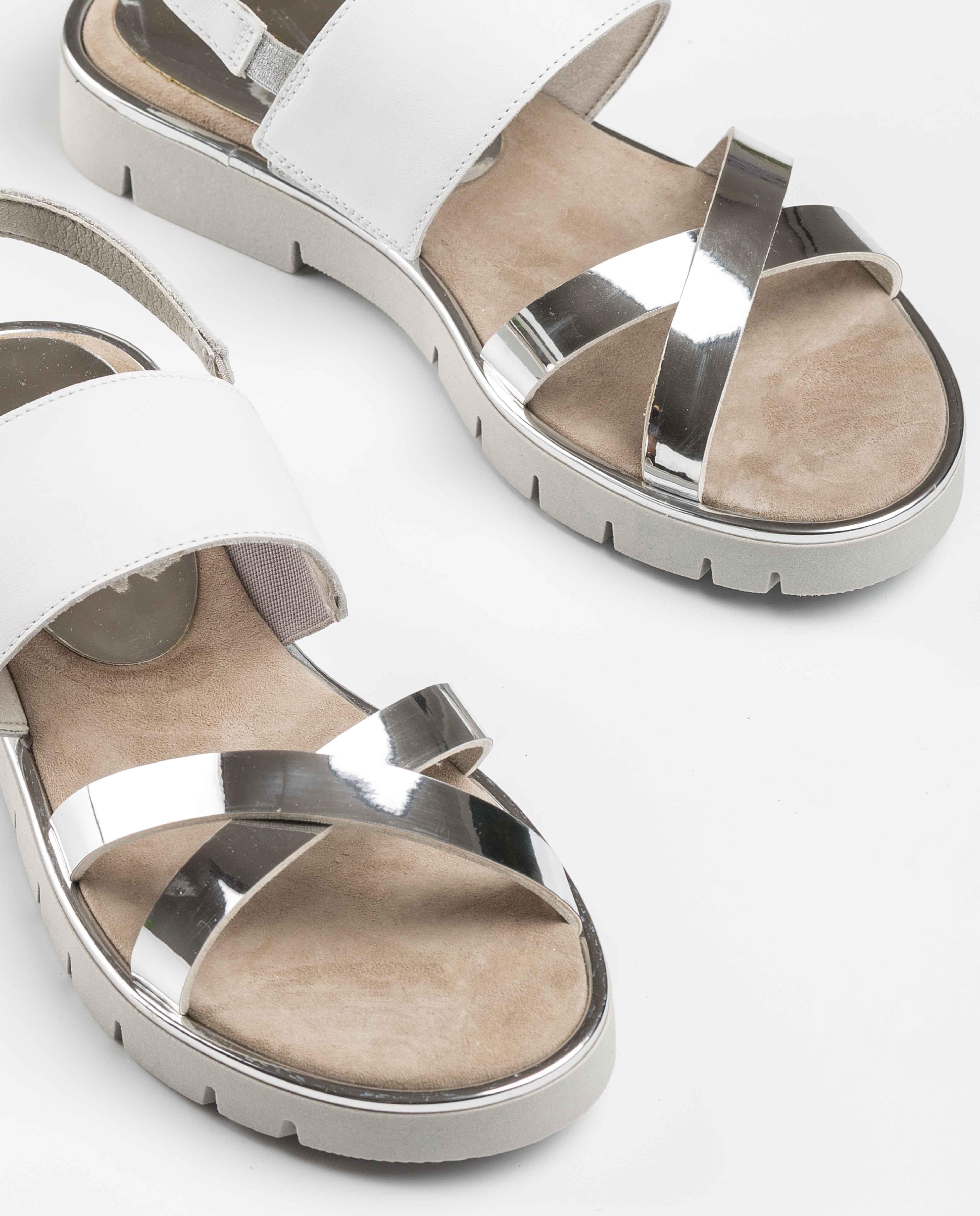 UNISA Sandalia niña contraste piel NOLES_C_SP_NF silver