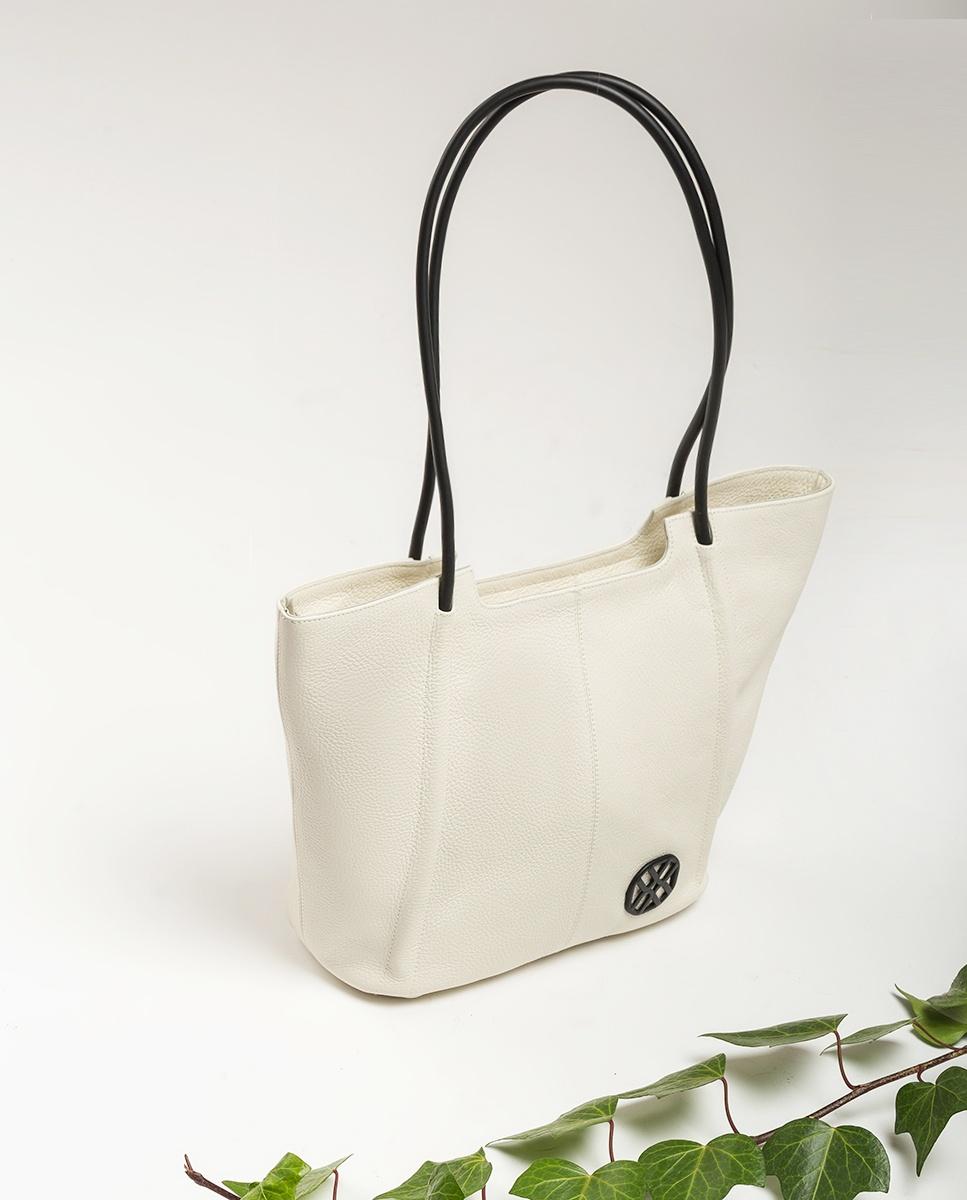 UNISA Shopper bag de piel monograma ZSEBBA_MM ivory