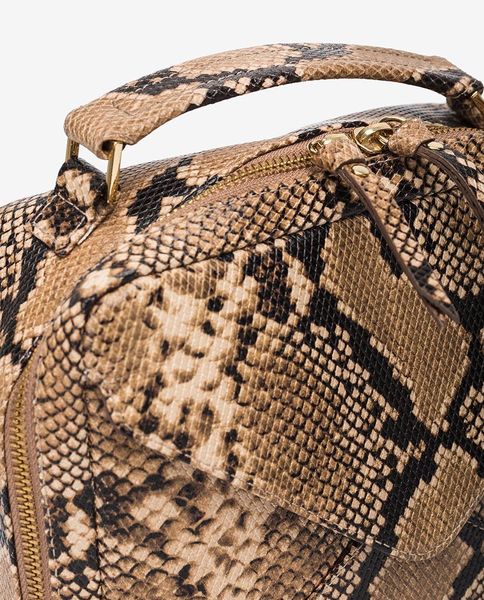 UNISA Bolso pequeño de mano tipo caja efecto serpiente ZETICO_VIP ginger
