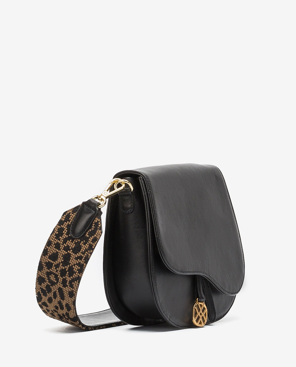 UNISA Bolso de mano ante con bandolera leopardo ZFUSO_NT_LEO black