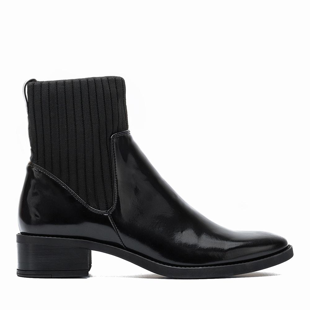 UNISA Botín piel con calcetín elástico ELLEN_SGL black