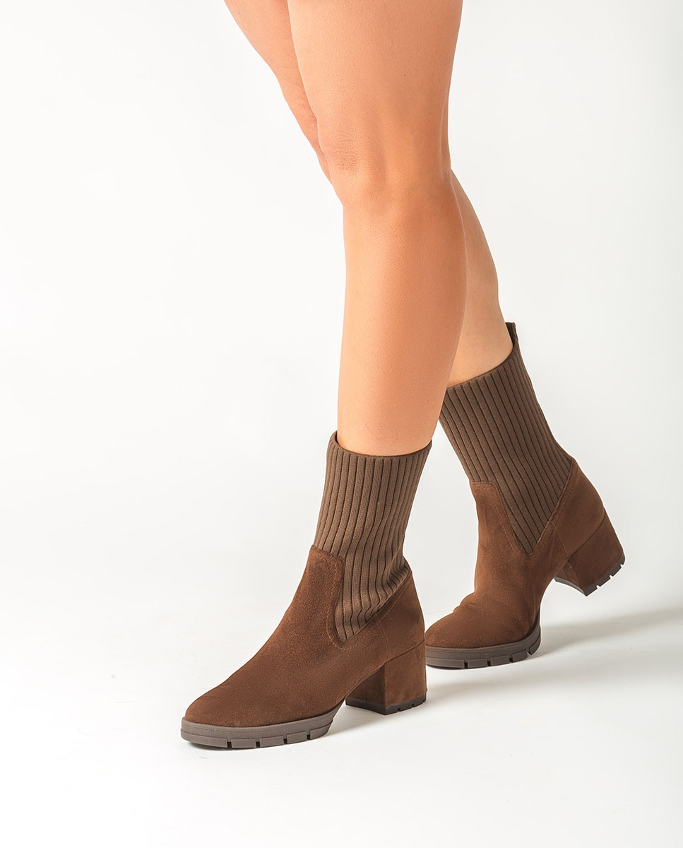 UNISA Botín de ante con calcetín JESE_KS truffle