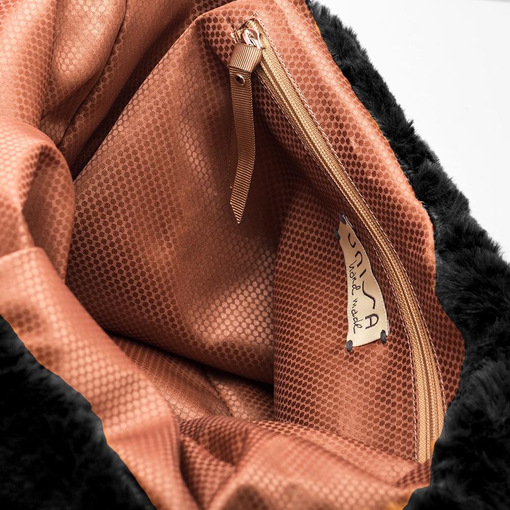 UNISA Tote bag marrón de pelo ZISNOW_F19_HR black