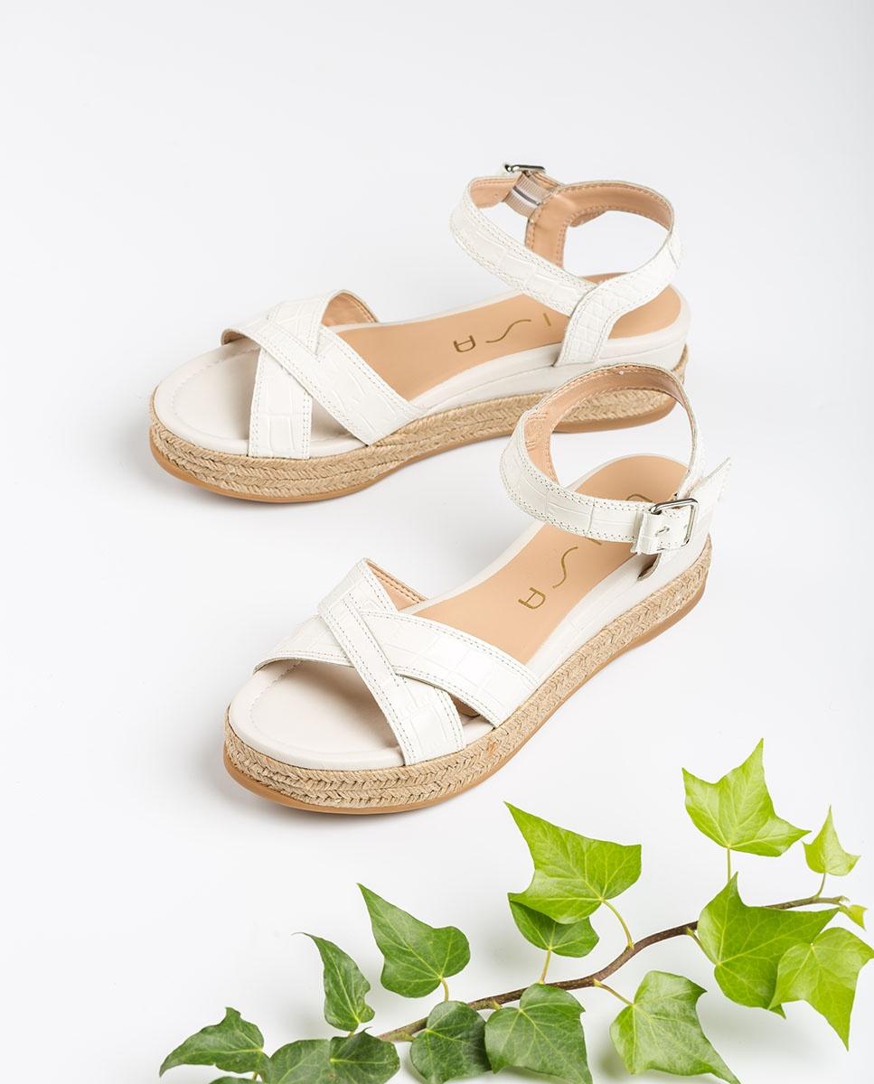 UNISA Sandalia blanca cuña contraste rafia GRANADA_CRW_NF ivory