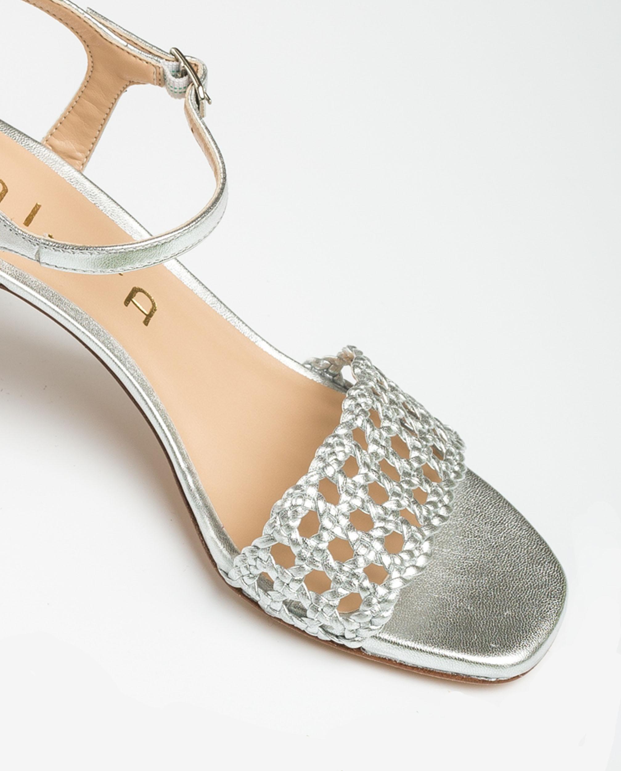 UNISA Sandalia metalizada macramé MAXWEL_LMT silver