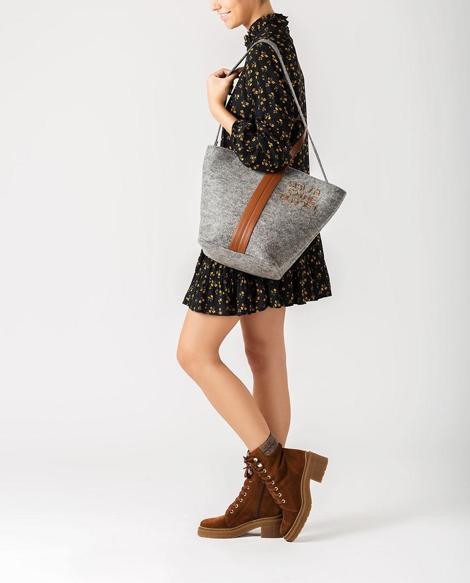 UNISA Bolso shopper ecowool ZPATY_EW_CAN grigi/sadd