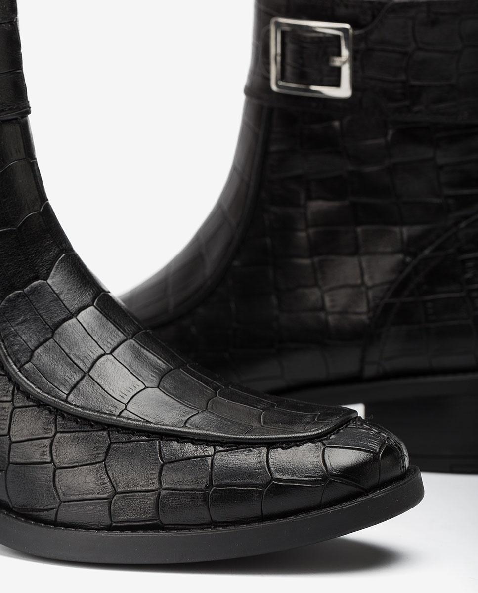 UNISA Botín negro croco ENDO_MAL black
