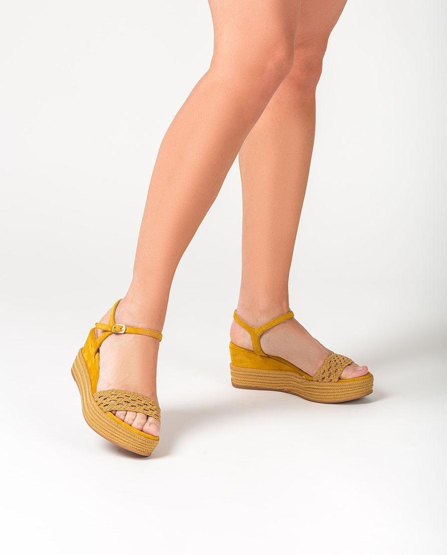 UNISA Sandalia cuña pala tejido trenzado KISOME_KS amber