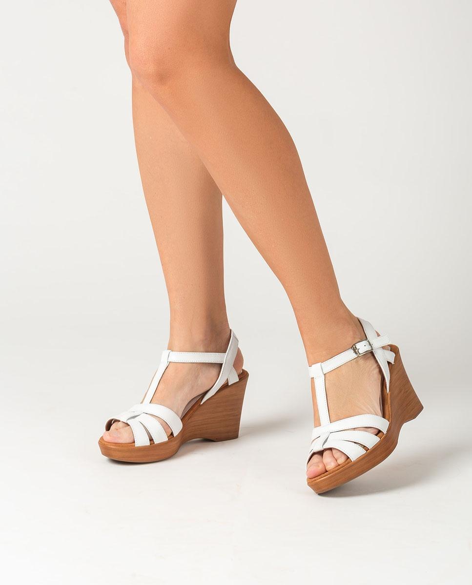 UNISA Sandalia T-strap blanca RAMOS_GCR white